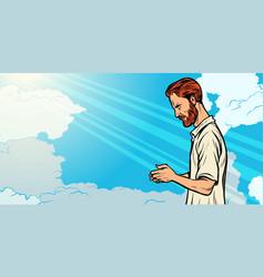 Prayer man religion and faith islam christianity vector