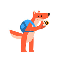 red fox with backpack and camera cute animal vector image