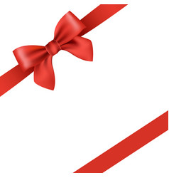 red ribbon and bow isolated vector image