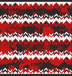 red tribal geometric pattern with grunge effect vector image