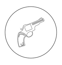 Revolver icon outline singe western icon from the vector