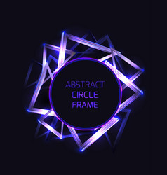 round frame with abstract neon triangles and vector image
