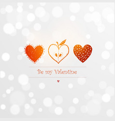 saint valentine s day greeting card with three red vector image