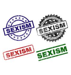 Scratched textured sexism stamp seals vector