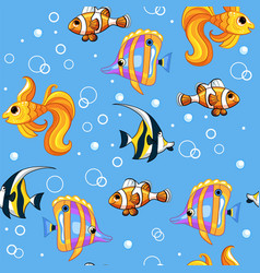 Seamless pattern with colorful tropical fishes vector