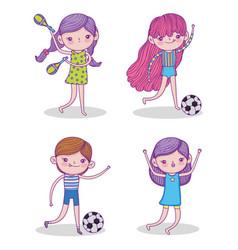 set beauty girl play soccer and maracas vector image