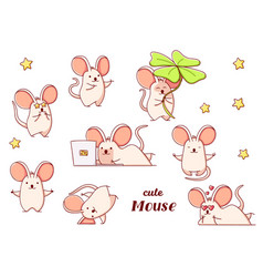 Set cute kawaii hand drawn mouse doodles isolated vector