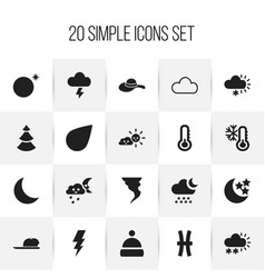 Set of 20 editable climate icons includes symbols vector