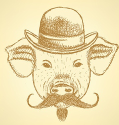 Sketch pig in hat with mustche ackground vector