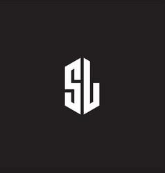 Sl logo monogram with hexagon shape style design vector