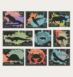 stamps on theme wildlife animals and birds vector image