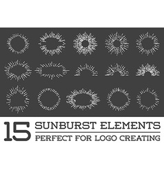 Sunburst on starburst element set for logo vector