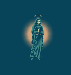 The holy virgin mary with a halo above her head vector
