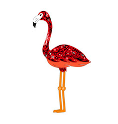 The image of a color flamingo a bird with vector