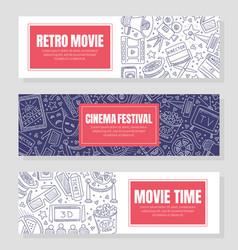 three flyer templates for cinema festival vector image