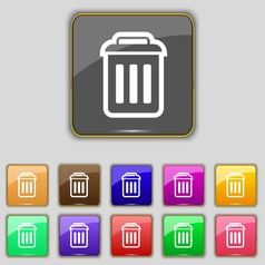 trash icon sign Set with eleven colored buttons vector image