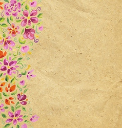 Vintage card with watercolor flowers vector