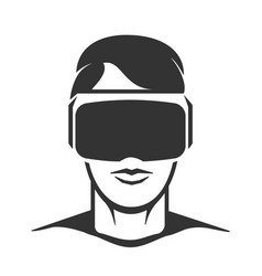 Virtual reality man silhouette vector