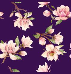 watercolor magnolia floral pattern vector image