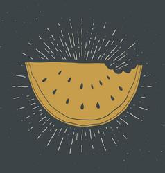 Watermelon vintage label grunge textured retro vector