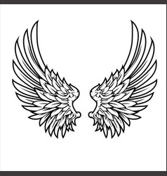 Wings bird feather black white tattoo hawk ange vector