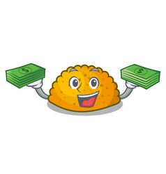 with money fried patties isolated on the mascot vector image