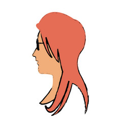 Woman profile face glasses and long hair vector