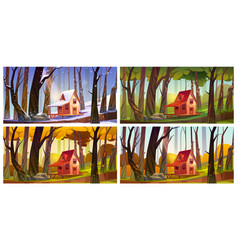 wooden house in forest at different seasons vector image