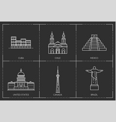 american landmarks line style vector image vector image