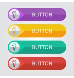 flat buttons with lamp icon vector image vector image