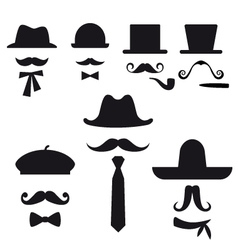 mustache and hats set vector image vector image