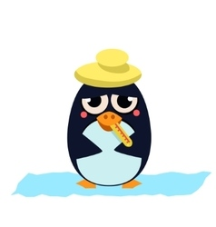 Sick Penguin with Thermometer vector image vector image