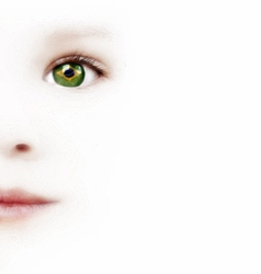 Childs Face And One Eye With The Brazilian Flag vector image vector image