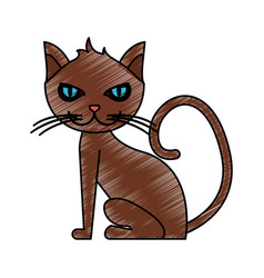 color pencil cartoon front view cat animal sitting vector image