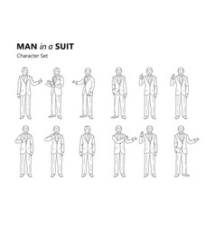 figure of an old man in a suit is standing vector image vector image