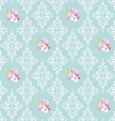 Seamless Pattern with pink flowers and damask vector image