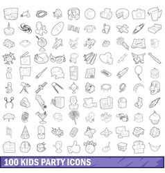 100 kids party icons set outline style vector image