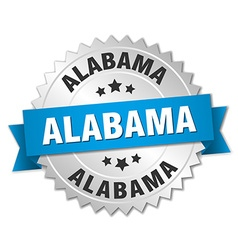 Alabama round silver badge with blue ribbon vector image