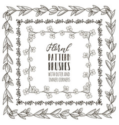 floral pattern brushes with branches vector image vector image