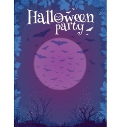 Halloween party purple poster template vector image