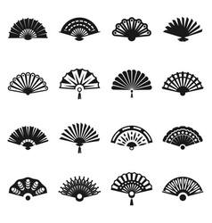hand fan set vector image