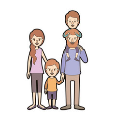 light color caricature thick contour family vector image