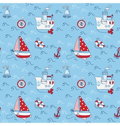 Nautical Sea Seamless Pattern vector image vector image