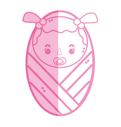 Silhoutte baby girl with pacifier and hairstyle vector