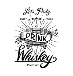 whiskey label vintage hand drawn border vector image