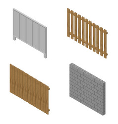 a set of isometric spans fences vector image vector image