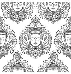 Buddha Head and Lotus Seamless Pattern vector image vector image