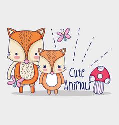 cute foxes doodles cartoon vector image