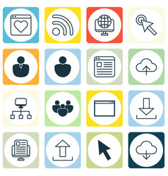 Set of 16 online connection icons includes wifi vector