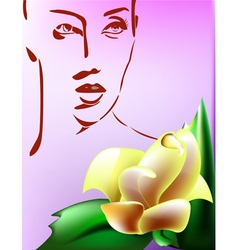 Woman with flower vector image